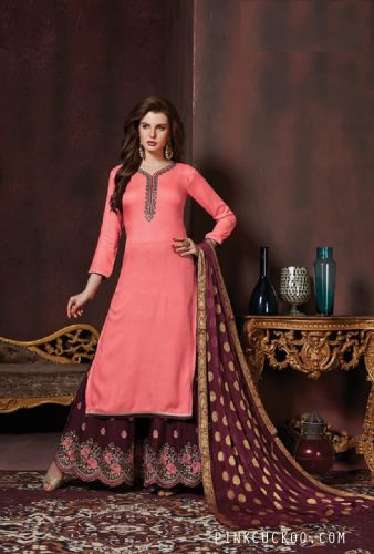 Cotton Pink Maroon Embroidered Sharara Suit