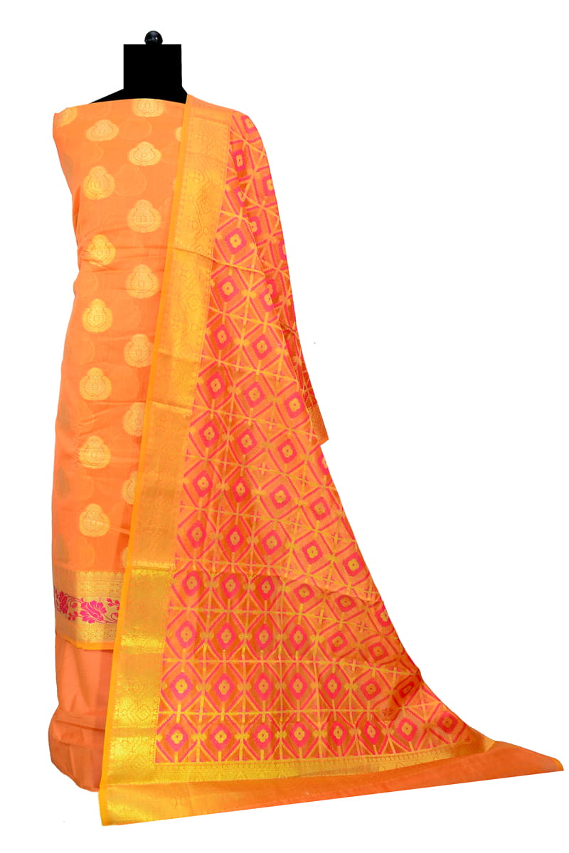 Banarasi Orange Color Suit With Banarasi Dupatta