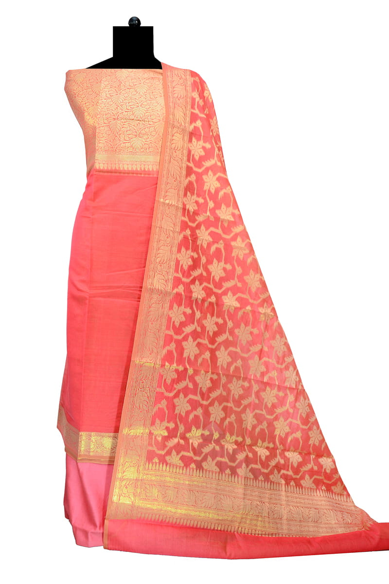 Peach Color Banarasi Suit With Banarasi Dupatta