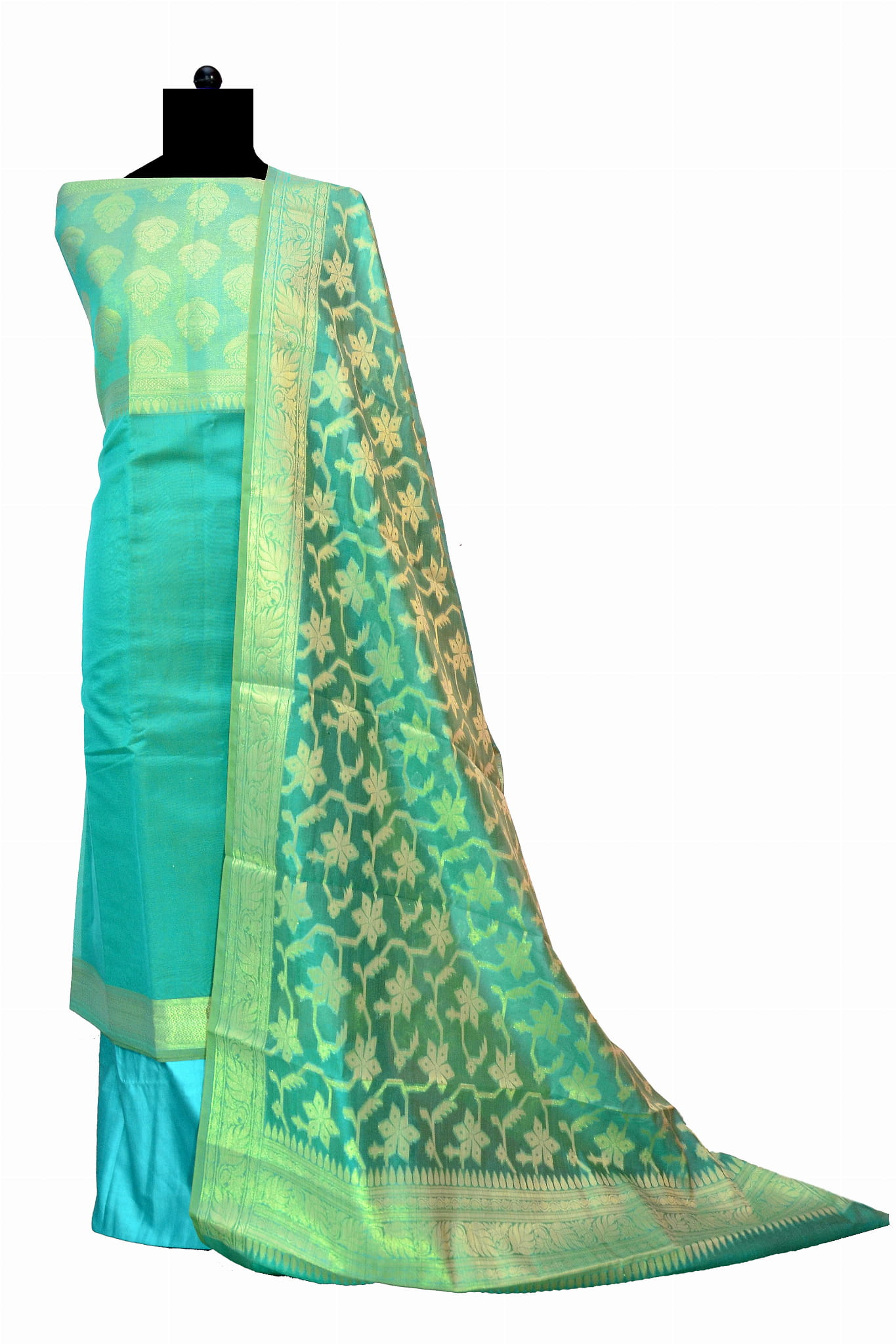 Sea Green Banarasi Suit With Banarasi  Dupatta