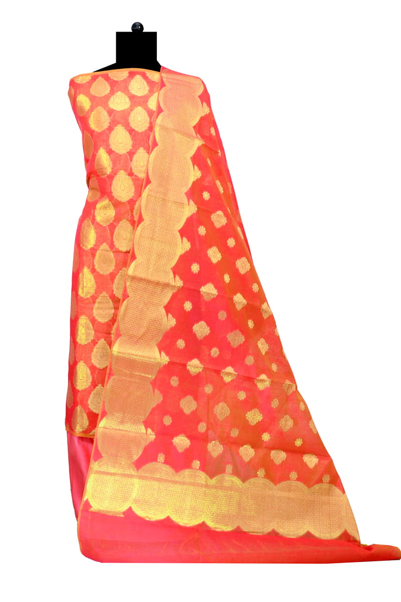 Banarasi Orange Color Suit With Red Booti Work Dupatta