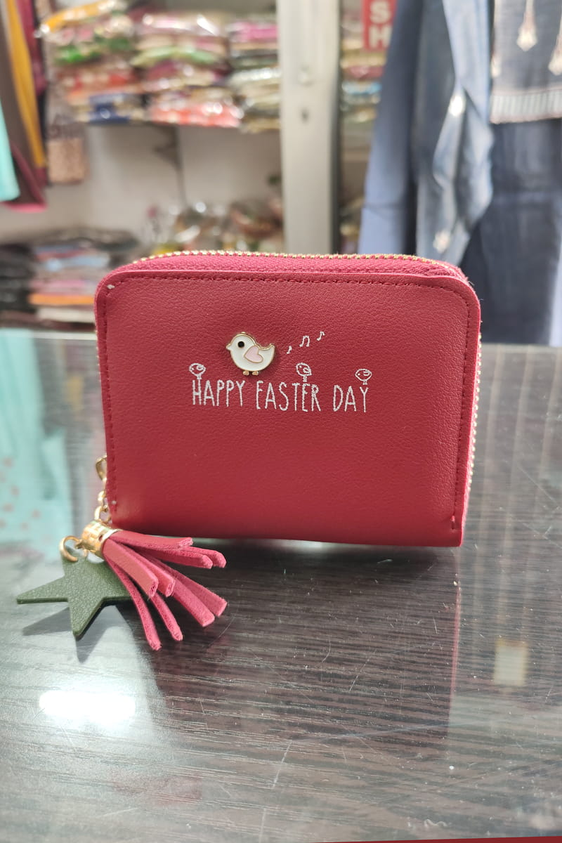 Handmade Small Red Color Text Clutch