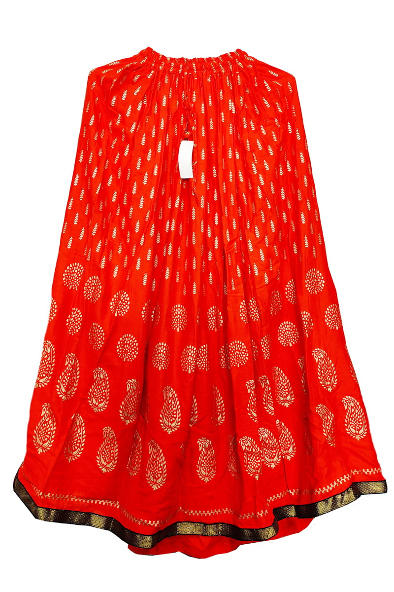 Orange Meenakari Work Cotton Skirt