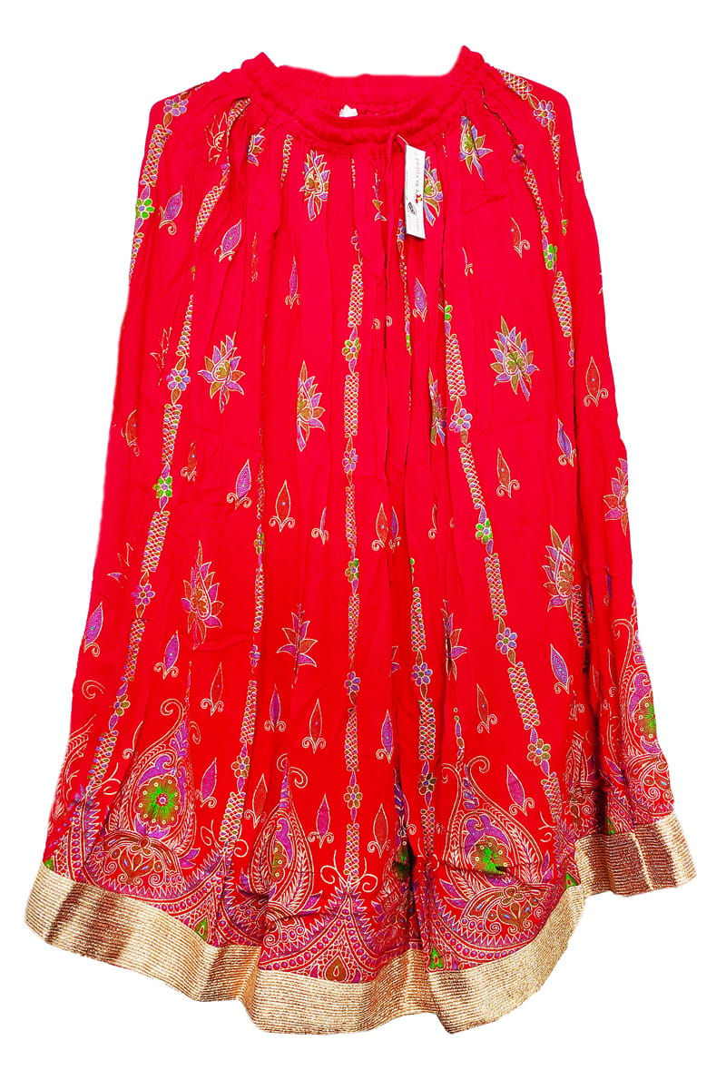 Red Meenakari Work Cotton Skirt