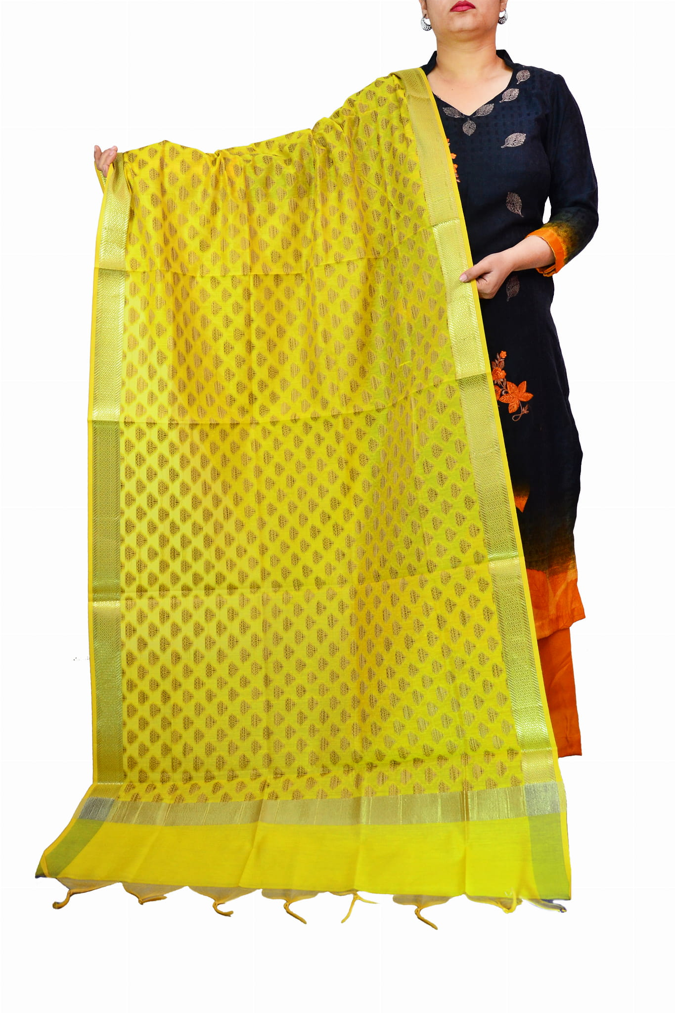 Yellow Color Booti Work Heavy Banarasi Silk Dupatta