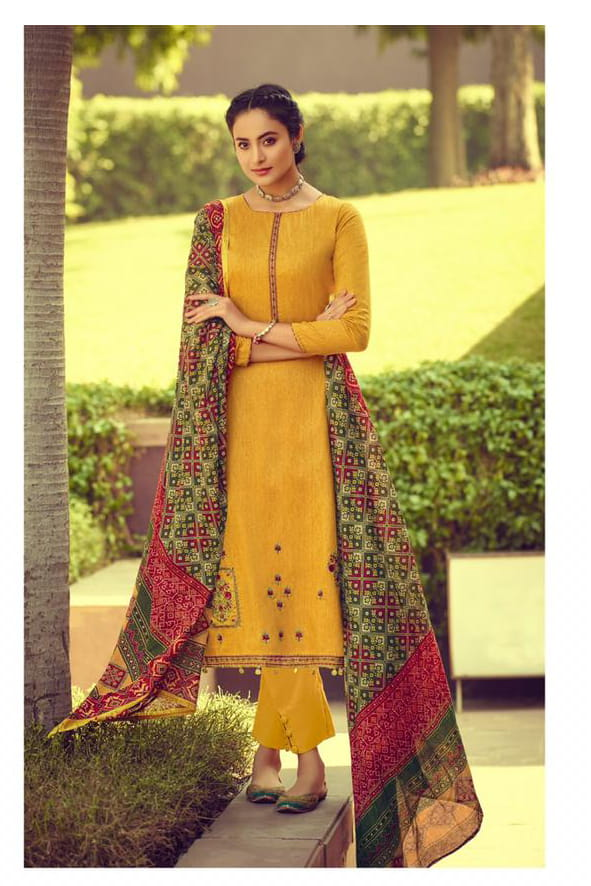 Glaze Cotton Yellow Embroidered Suit With Printed Patola Dupatta