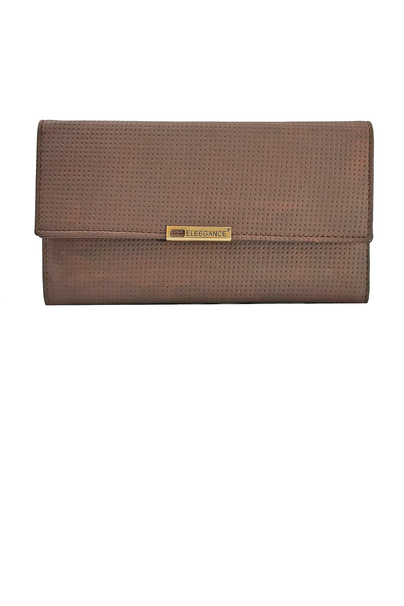 Eleegance Brown Handclutch With Mobile Pocket