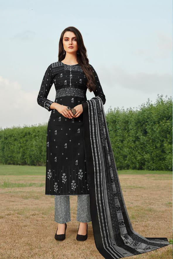 Black Grey Printed Cotton Suit With Cotton Dupatta