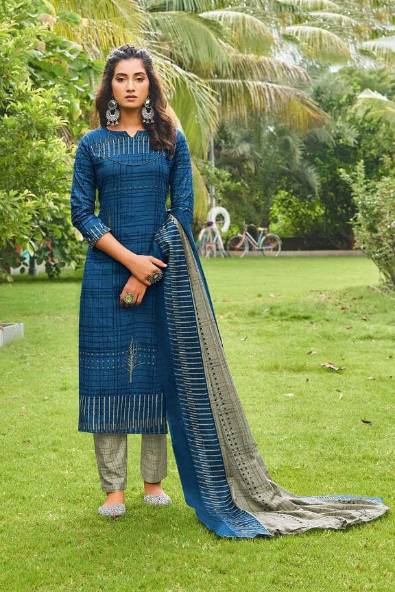 Blue Grey Printed Cotton Suit With Cotton Dupatta