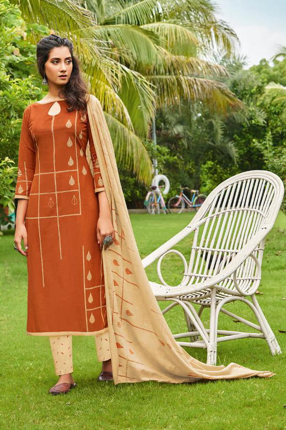 Orange Printed Cotton Suit With Cotton Dupatta