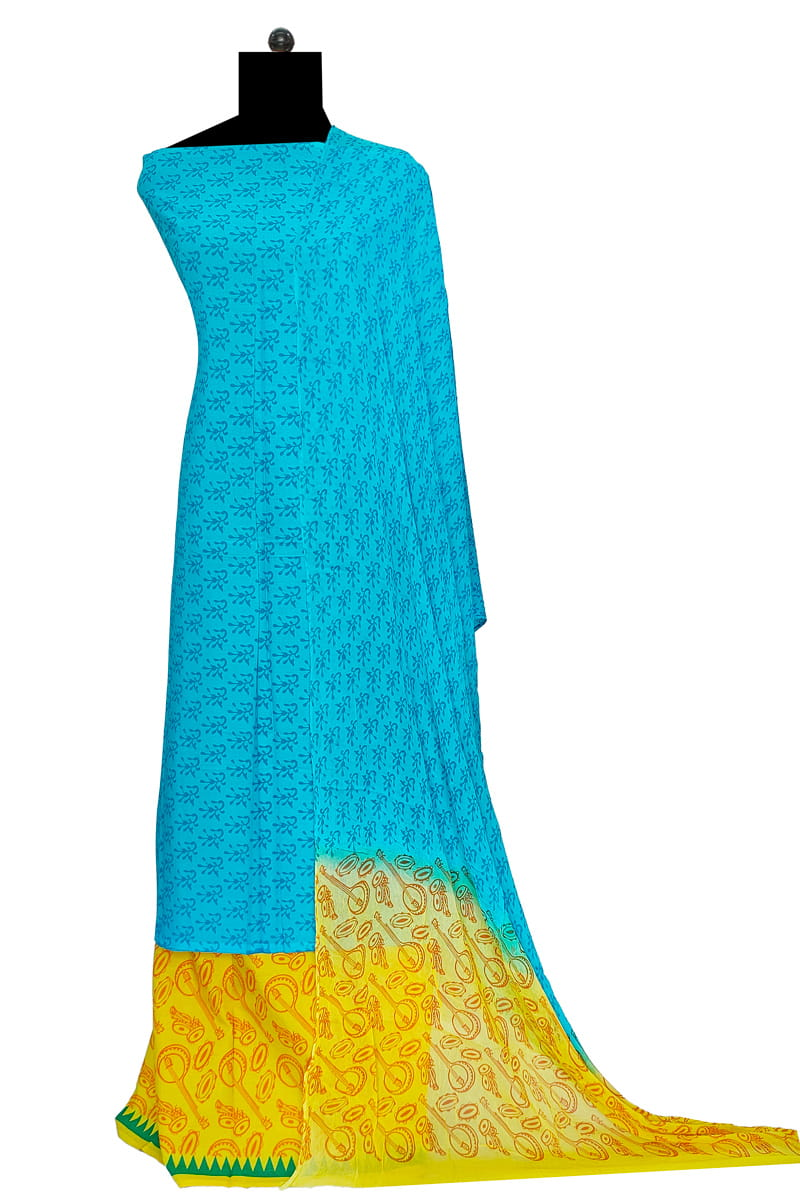 Aqua Blue Block Printed Cotton Suit With Chiffon Dupatta