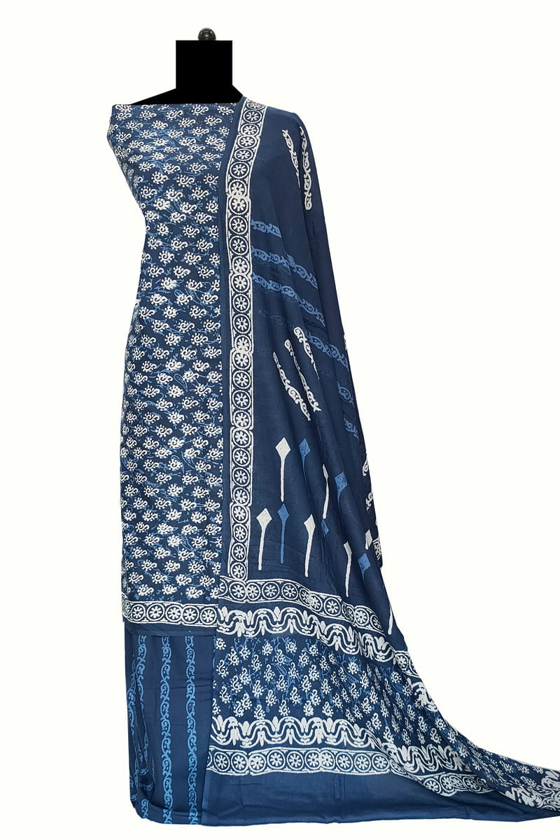 Blue Block Printed Cotton Suit With Cotton Dupatta