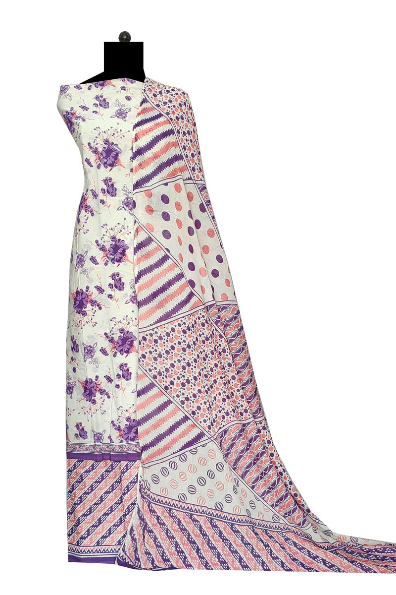 White Purple Block Printed Cotton Suit With Cotton Dupatta