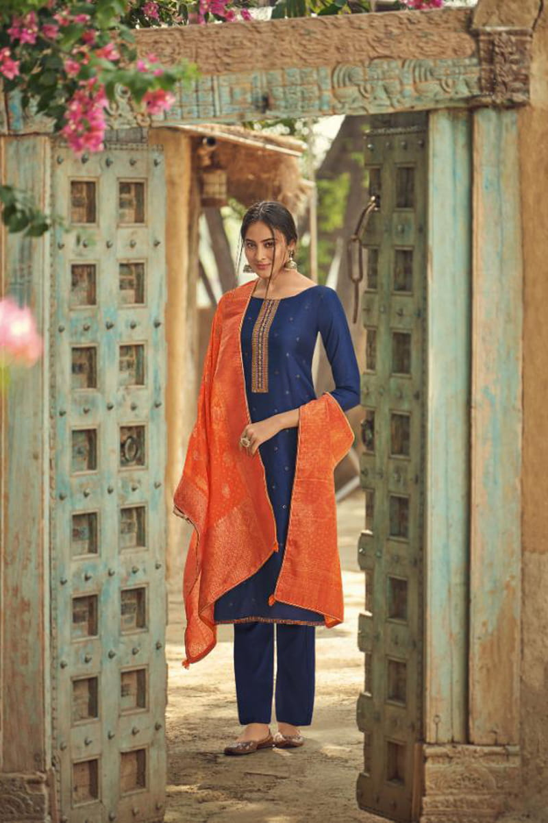 Silk Blue Embroidered Suit With Viscose Jecord Dupatta