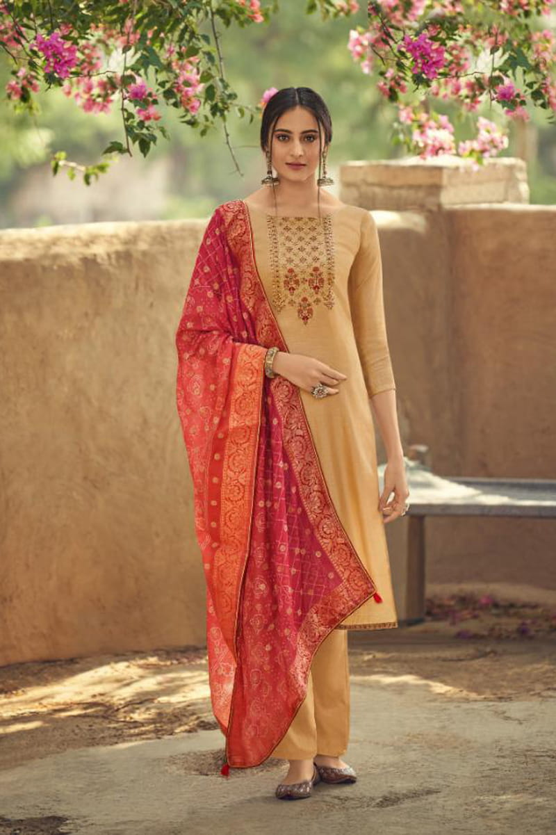 Silk Golden Embroidered Suit With Red Viscose Jecord Dupatta