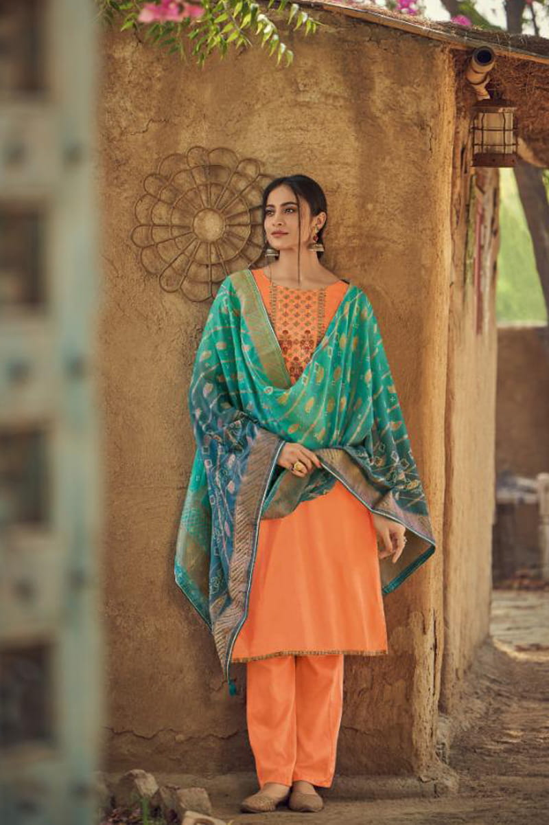 Silk Orange Embroidered Suit With Green Viscose Jecord Dupatta