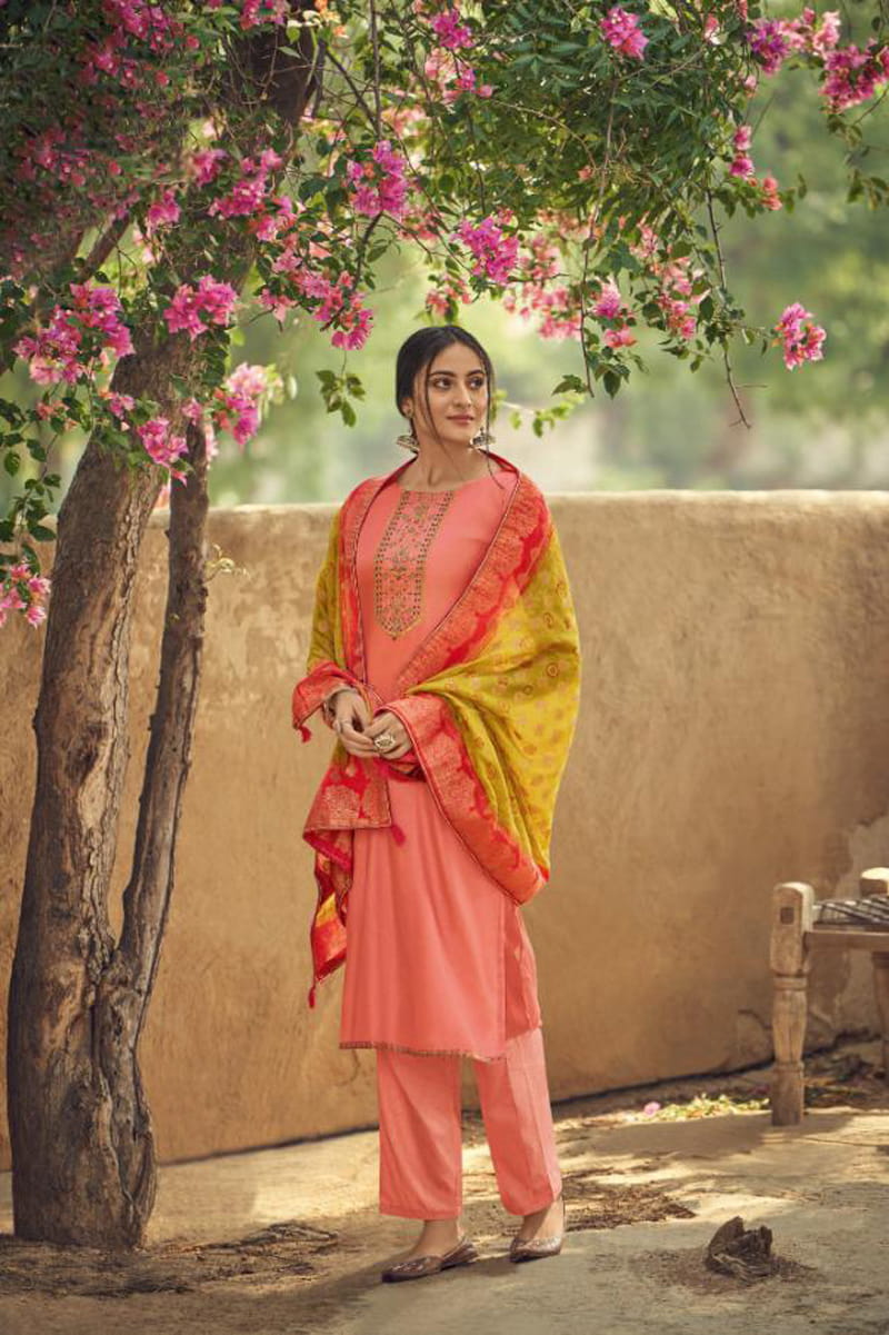 Silk Peach Embroidered Suit With Yellow Viscose Jecord Dupatta