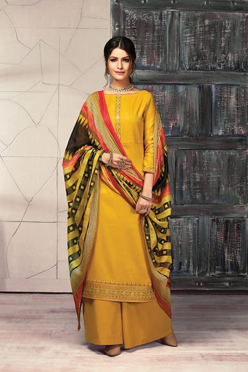 Yellow Jaam Silk Embroidered Suit With Tabby Silk Dupatta