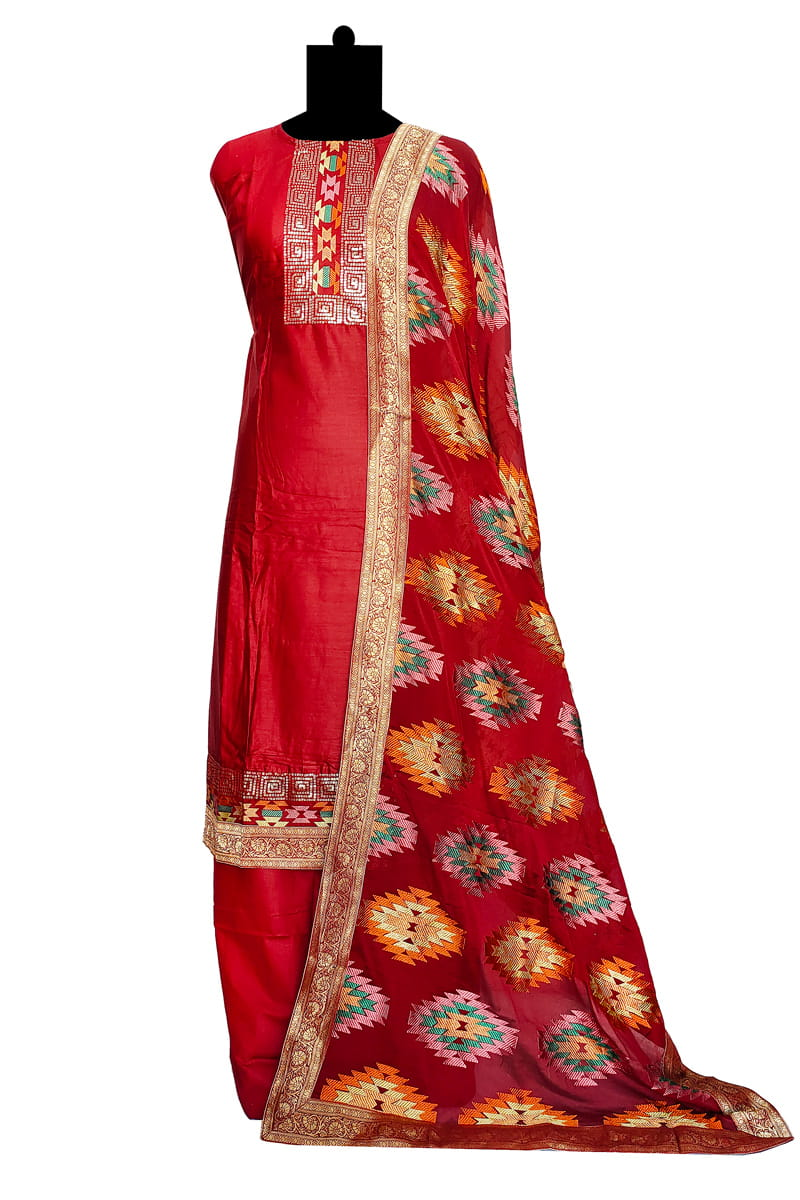 Maroon Silk Embroidered Suit With Chiffon Embroidered Dupatta