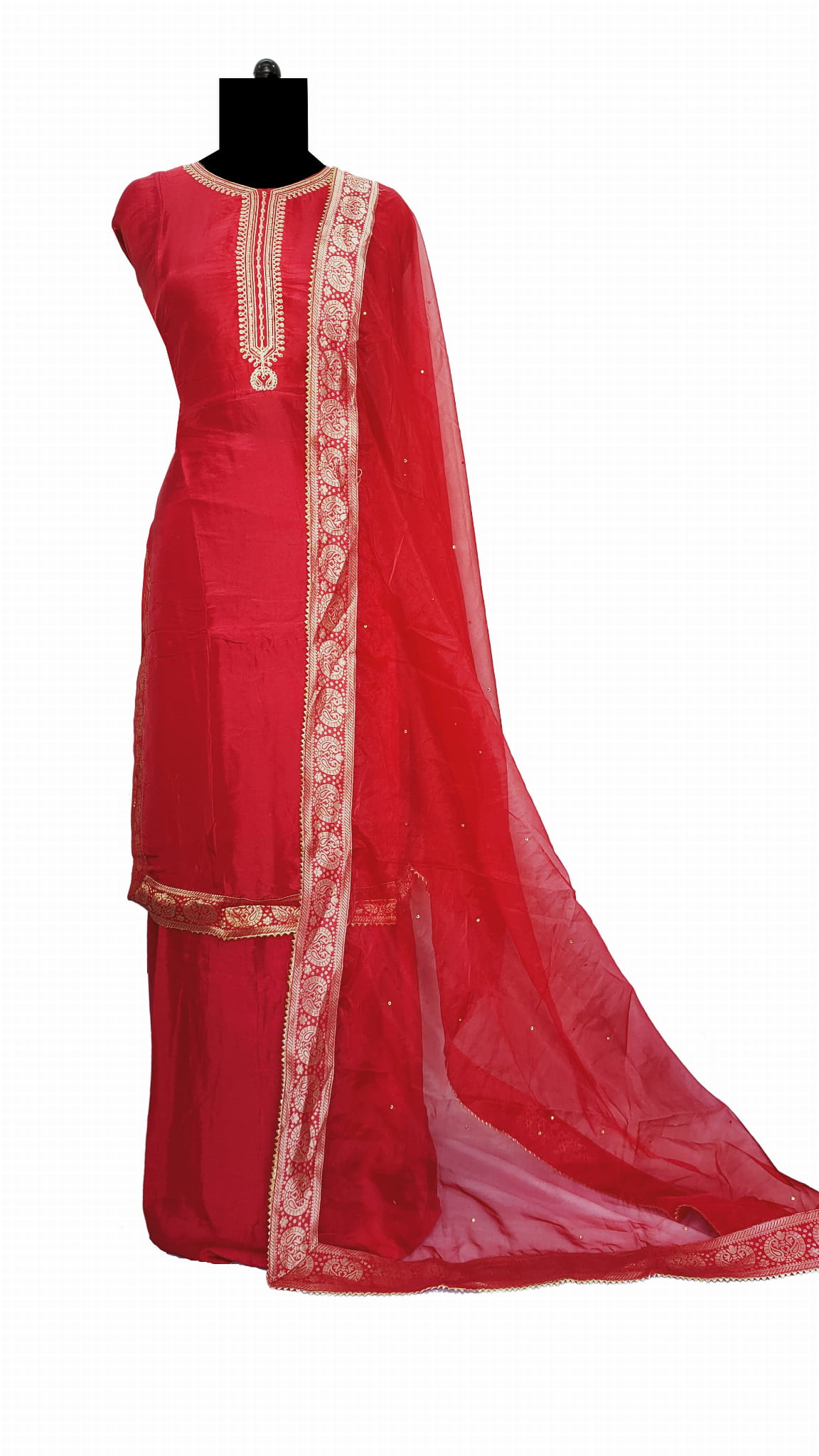 Red Silk Embroidered Suit With Opada Silk Dupatta