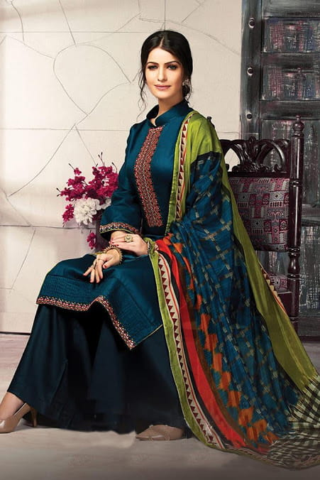 Blue Jaam Silk Embroidered Suit With Tabby Silk Dupatta