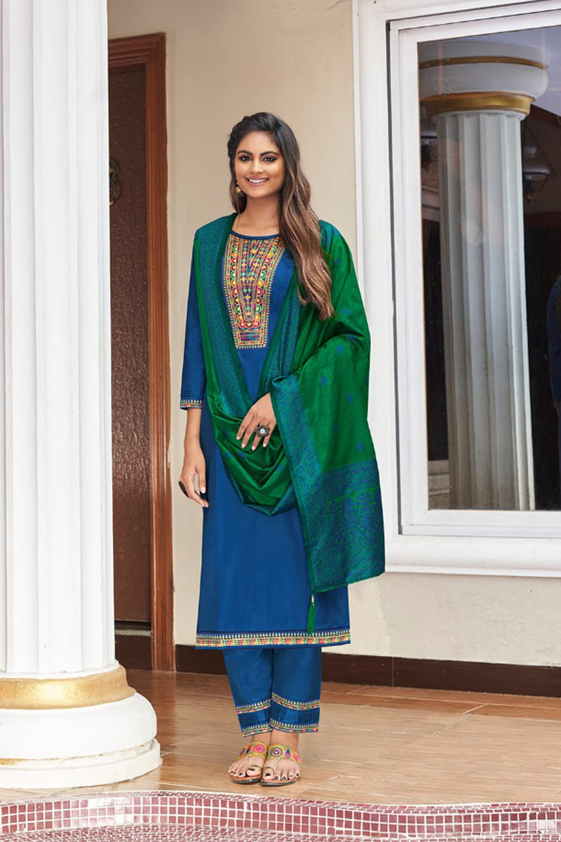 Blue Color Silk Embroidered Stitched Suit With Silk Dupatta