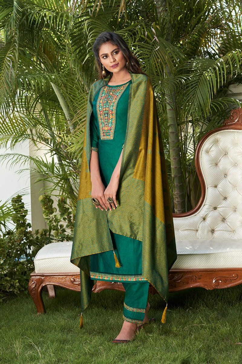 Green Color Embroidered Stitched Suit With Multicolor Silk Dupatta
