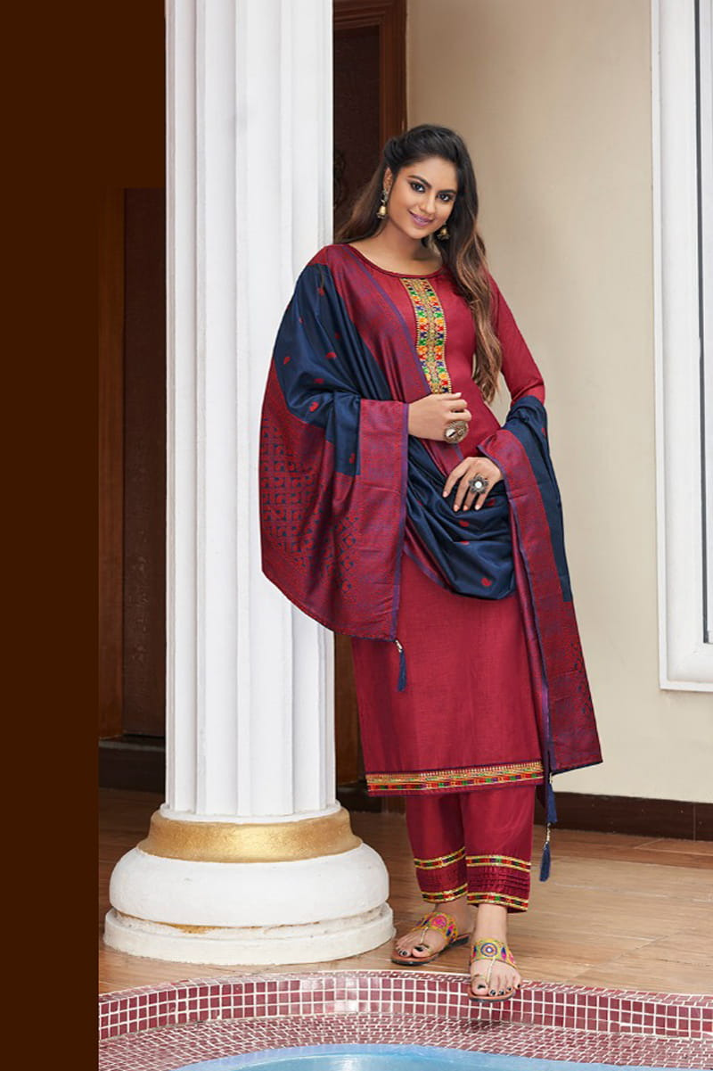 Maroon Color Silk Embroidered Stitched Suit With Multicolor Silk Dupatta