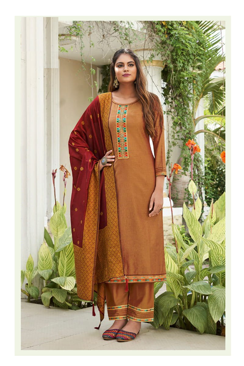 Mustard Color Silk Embroidered Stitched Suit With Multicolor Silk Dupatta