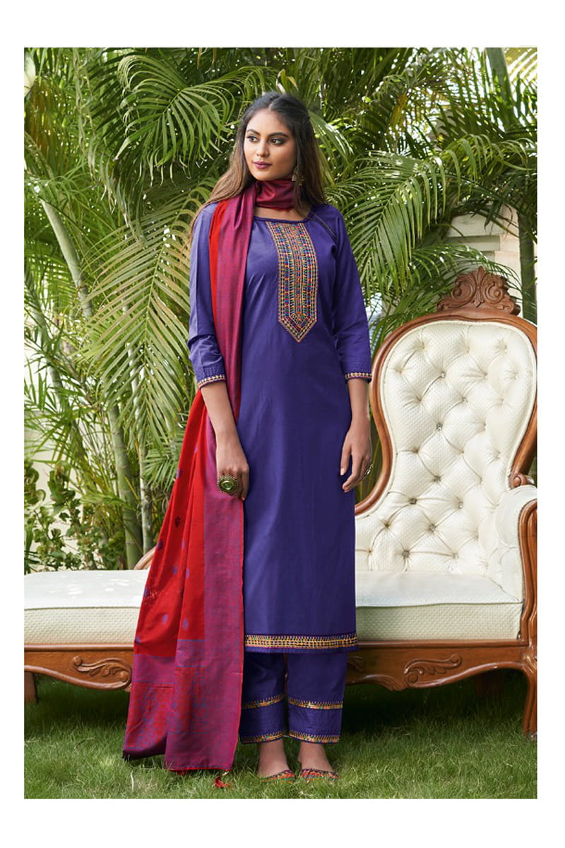 Voilet Color Silk Embroidered Stitched Suit With Multicolor Silk Dupatta