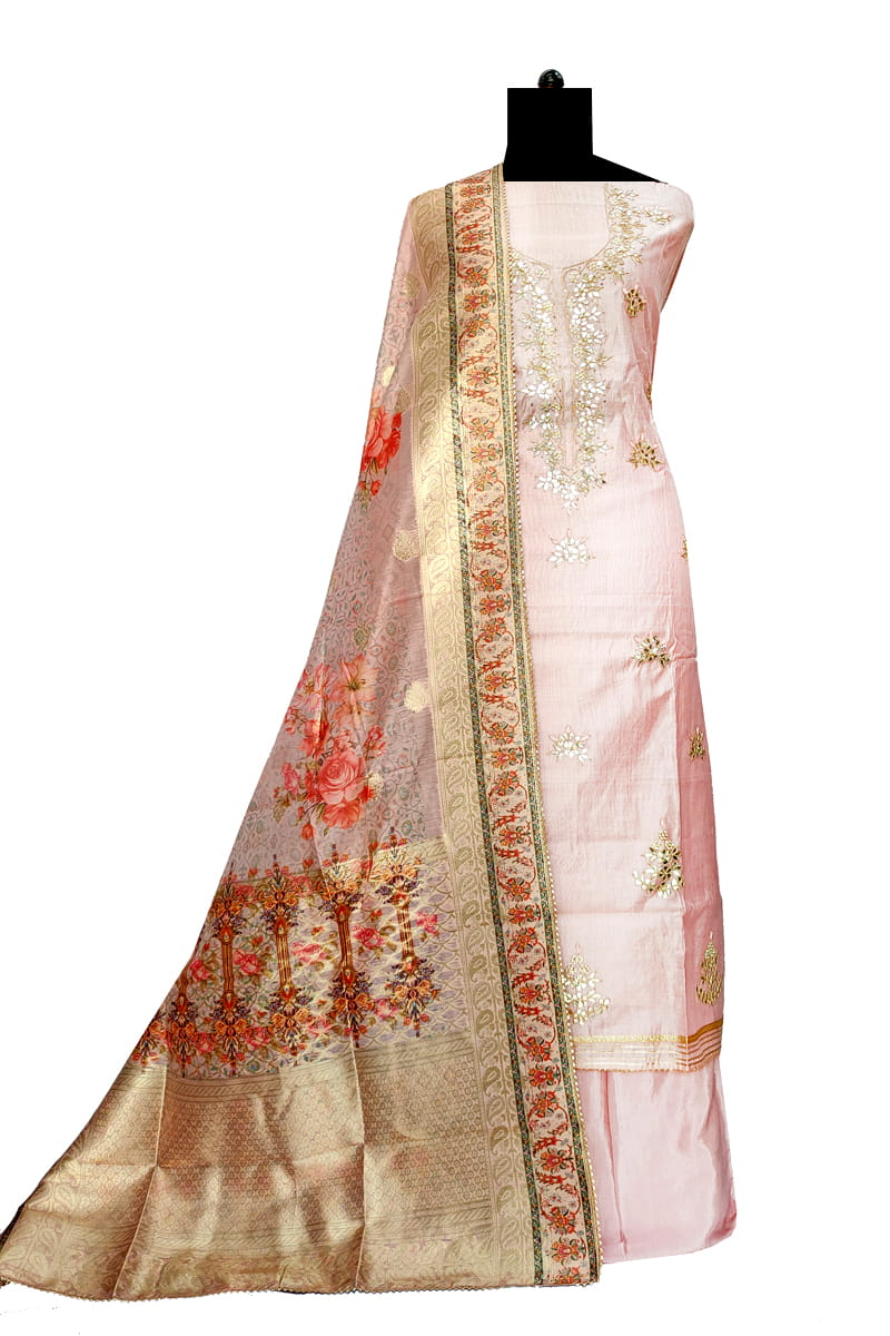 Maheshwari Silk Baby Pink Color Gotta Hand Work Suit With Kotta Work Dupatta