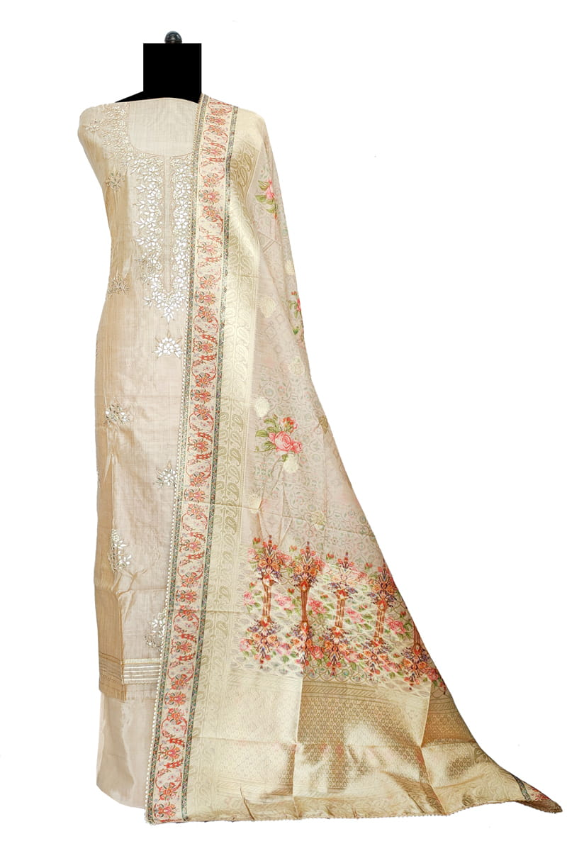 Maheshwari Silk Golden Color Gotta Hand Work Suit With Kotta Work Dupatta