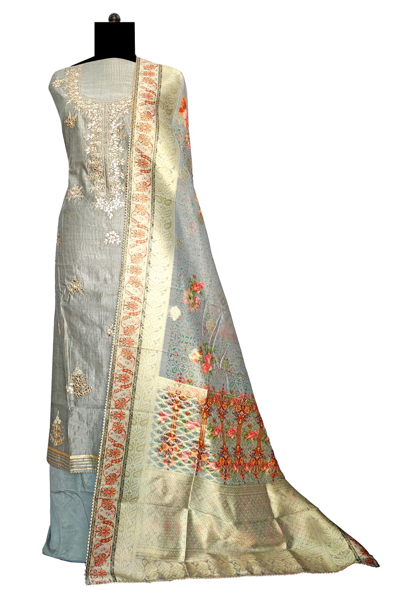 Maheshwari Silk Grey Color Gotta Hand Work Suit With Kotta Work Dupatta
