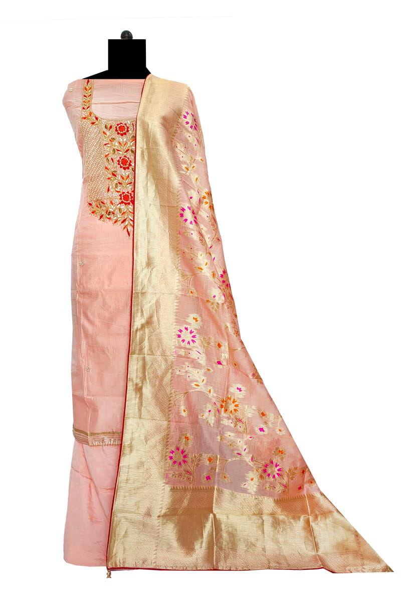 Maheshwari Silk Pink Color Gotta Hand Work Suit With Banarasi Work Dupatta