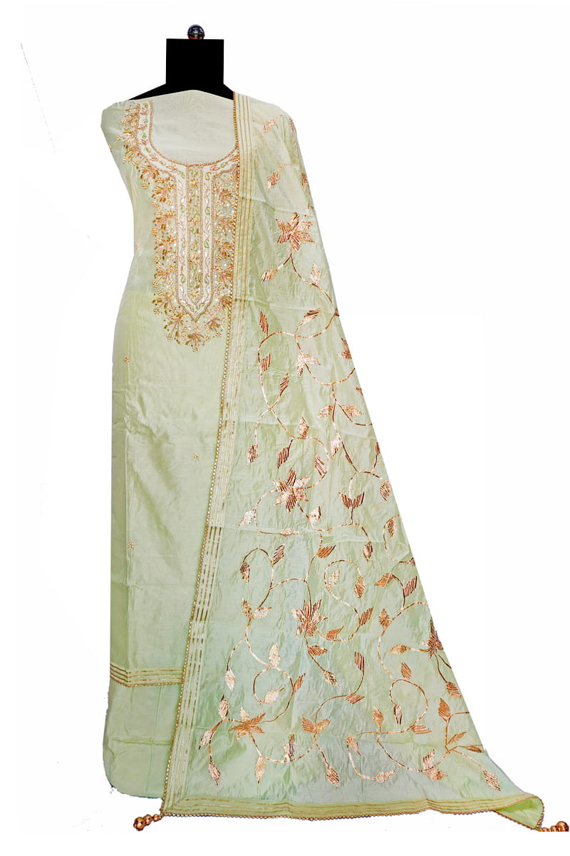 Maheshwari Silk Pista Green Color Gotta Hand Work Suit With Gotta Work Dupatta