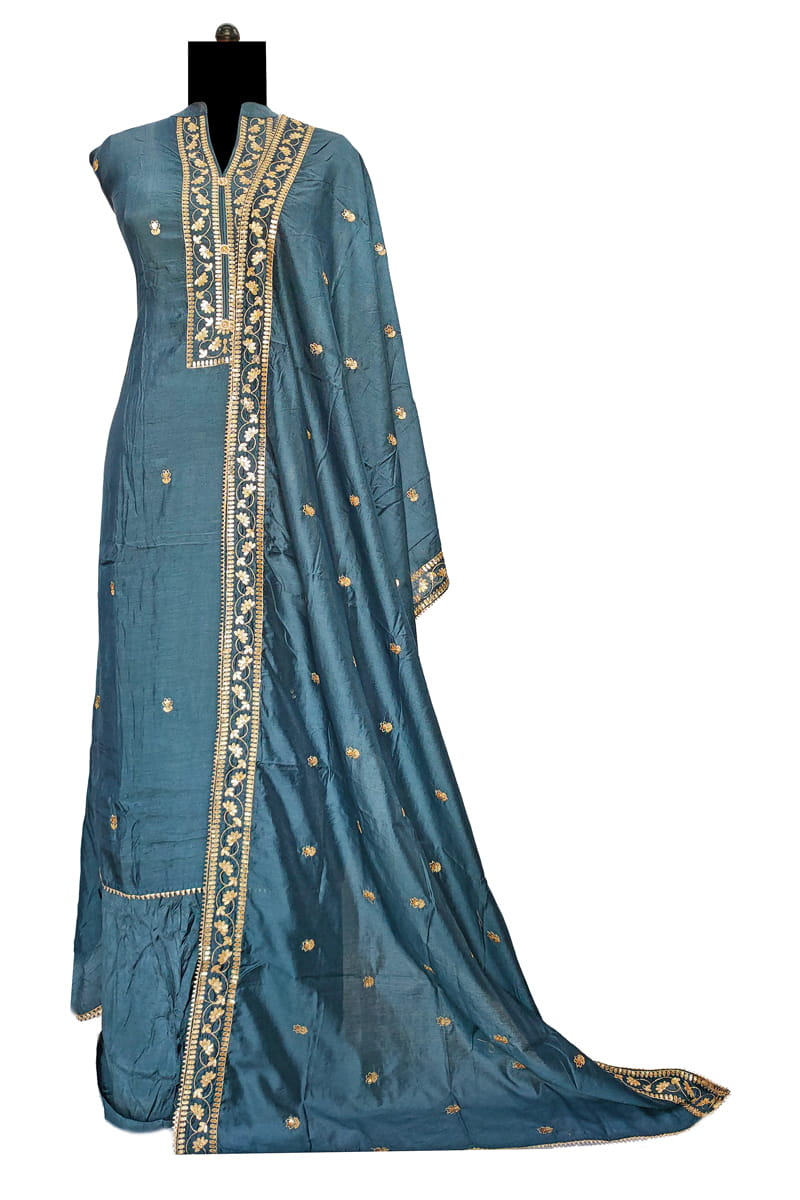 Masleen Silk Blue Color Hand Work Suit With Masleen Hand Work Dupatta