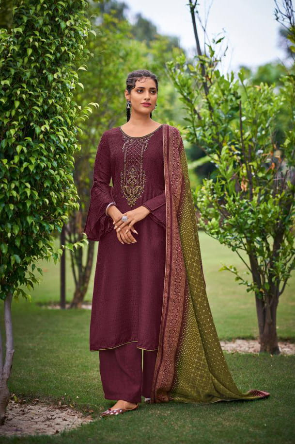 Pashmina Purple Color Embroidered Suit With Pashmina Shawl