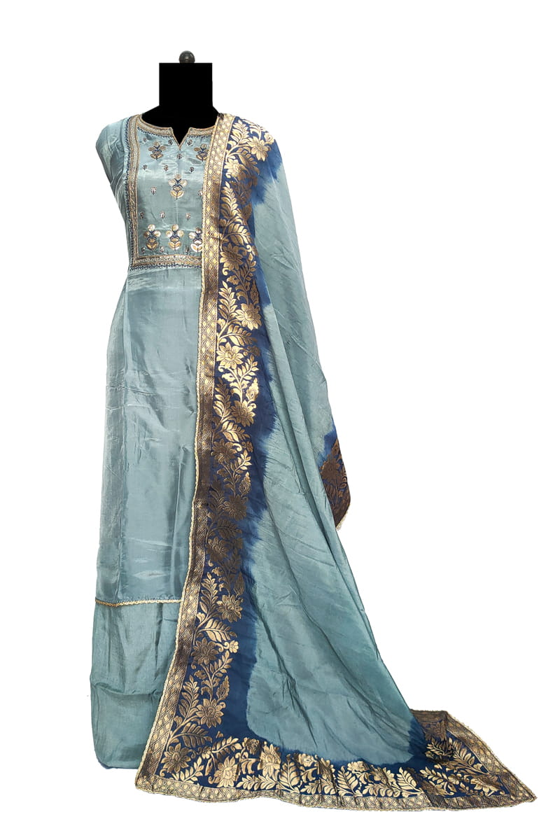 Grey Blue Marble Silk Suit With Grey Banarsi Dupatta