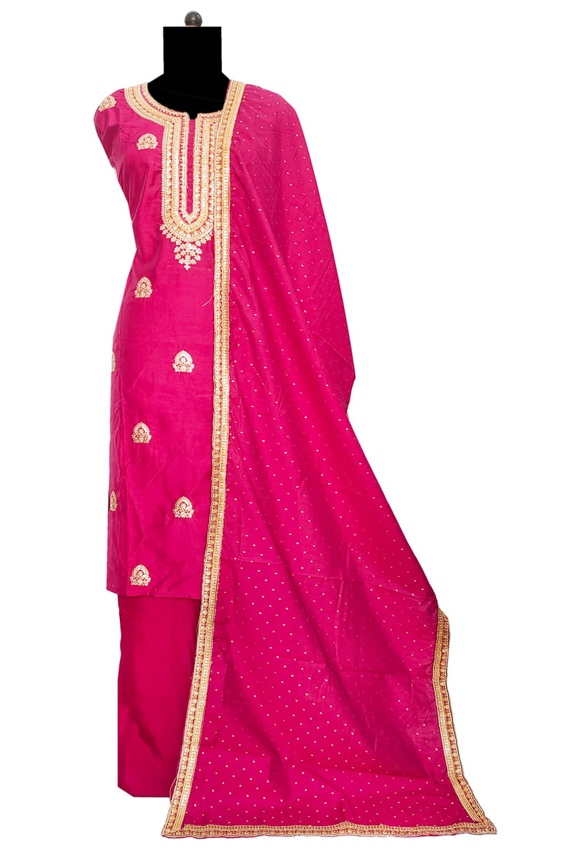 Magenta Silk Suit With Zari Work And Zari Work Silk Dupatta