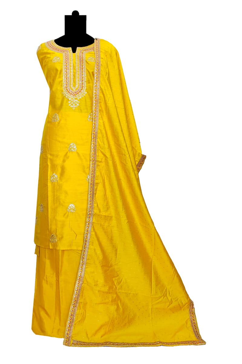 Marble Yellow Silk Zari Embroidered Suit With Yellow Embroidered Silk Dupatta