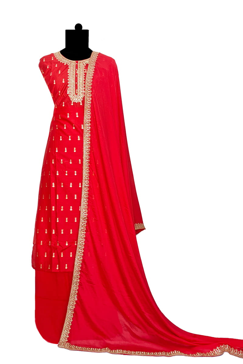 Red Silk Embroidered Suit With Red Embroidered Silk Dupatta