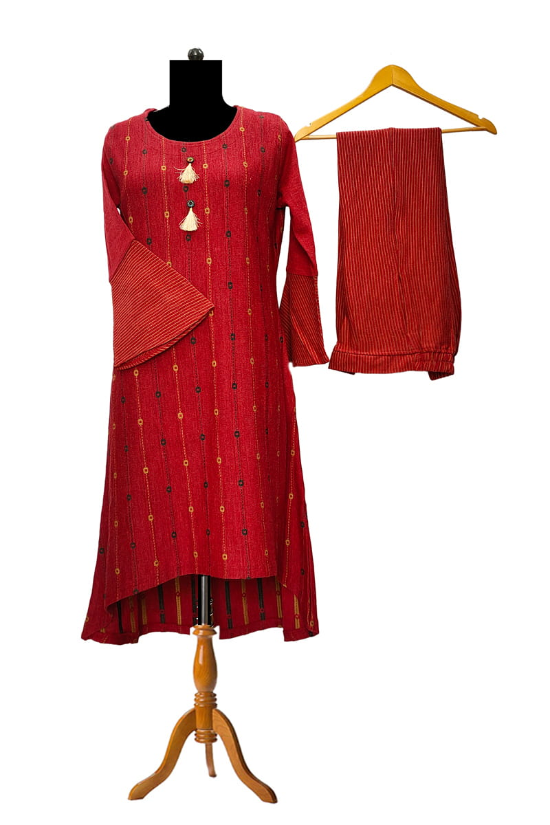 Woolen Maroon High Low Kurta Palazzo Set