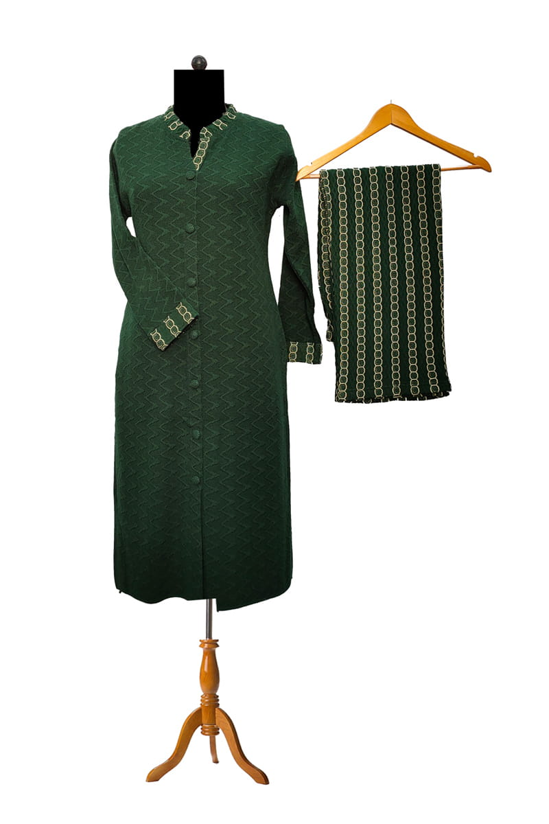 Woolen Leaf Green Embroidered Kurta Palazzo Set