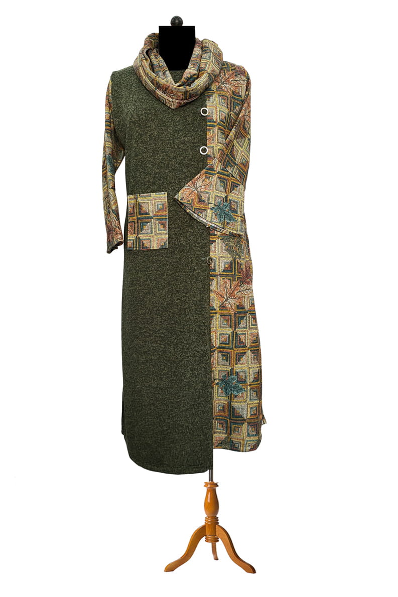 Woolen Green Multi Color Kurta With Stole