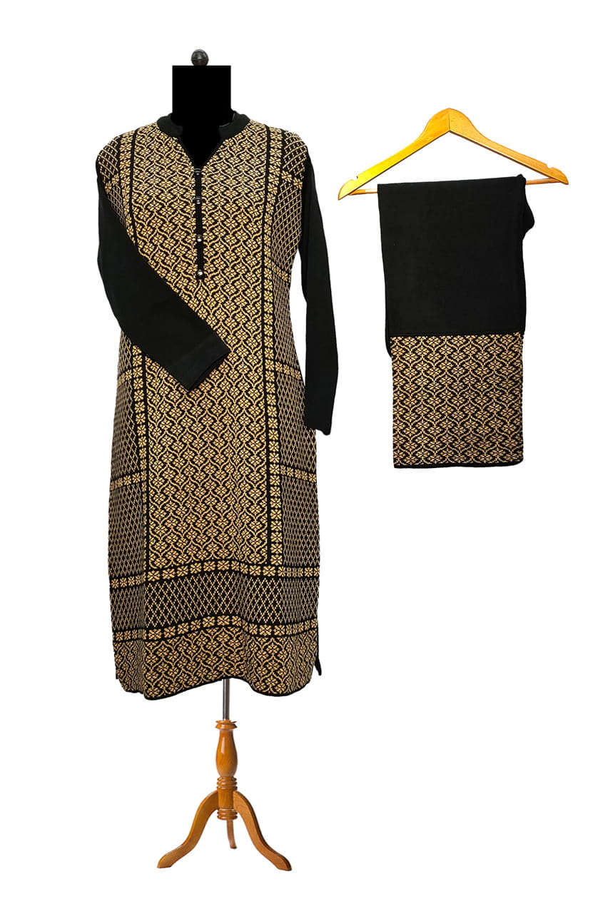 Woolen Black Embroidered Kurta Palazzo Set