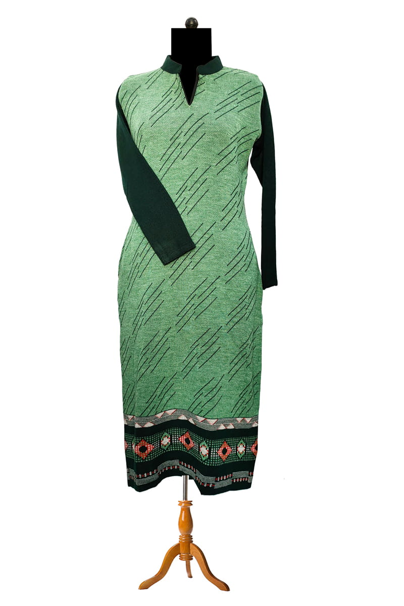 Woolen Green Blue Kurta