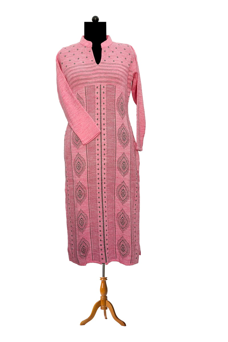 Pure Wool Pink Grey Color Kurta