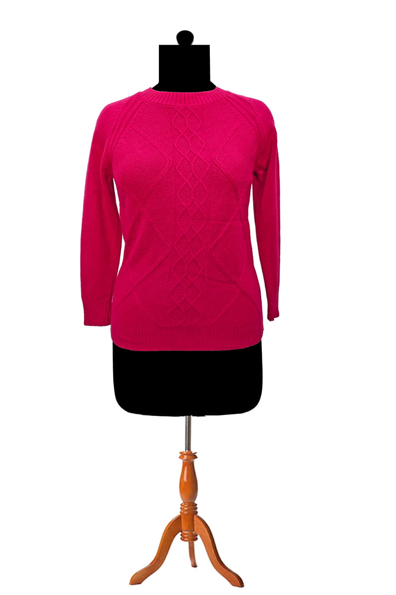 Pure Wool Maroon Self Work Pullover