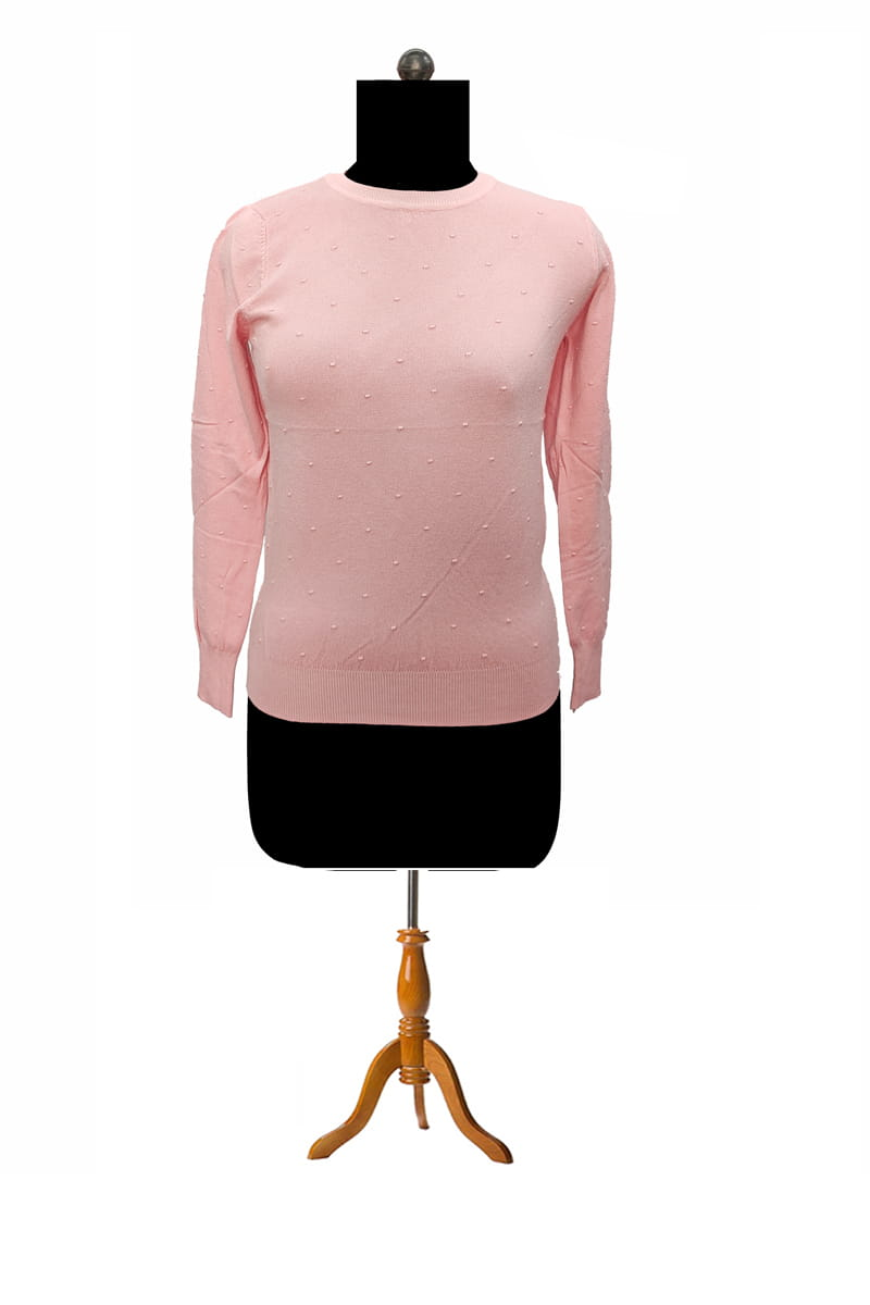 Pure Wool Pink Self Embroidery Pullover