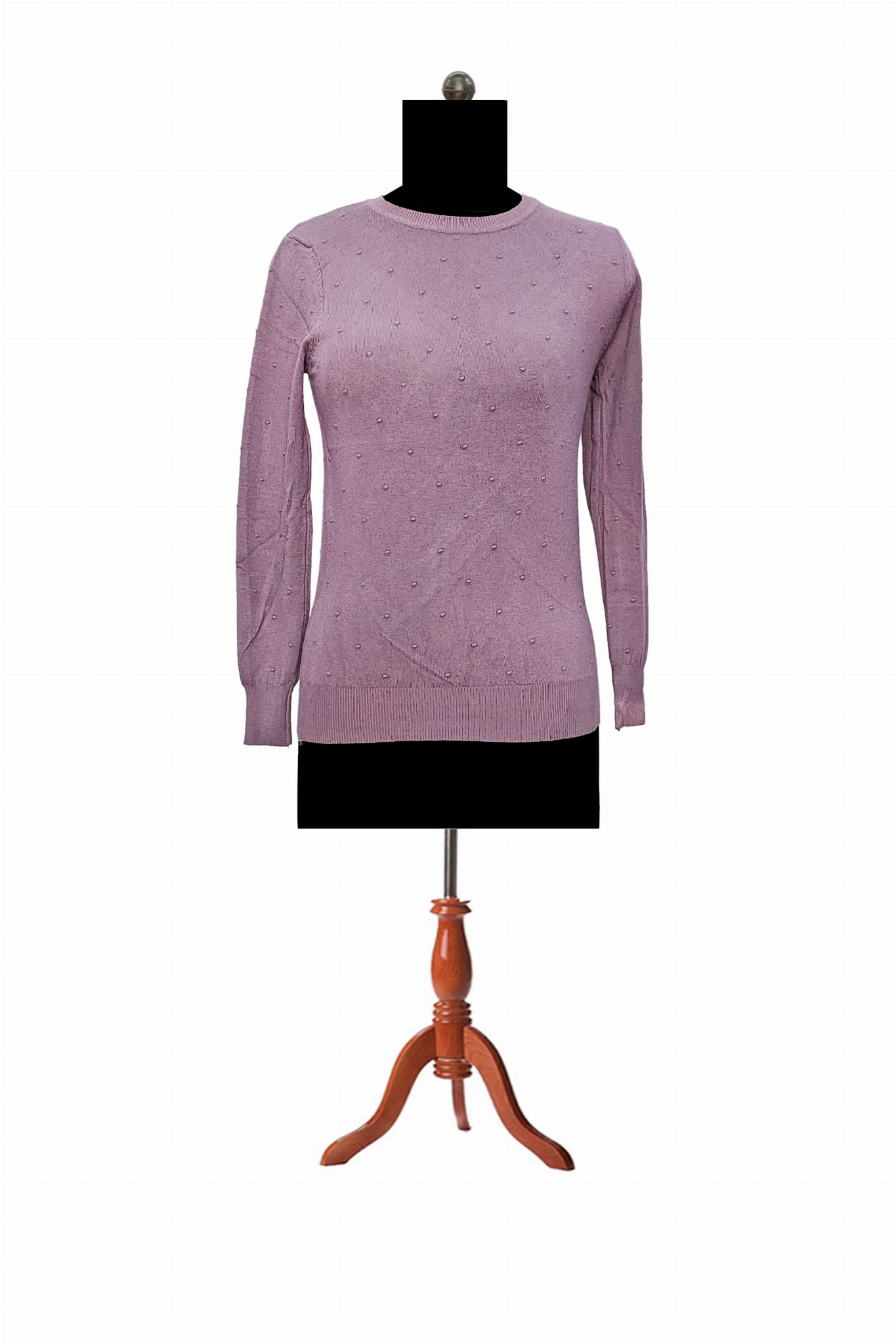 Pure Wool Purple Self Embroidery Pullover